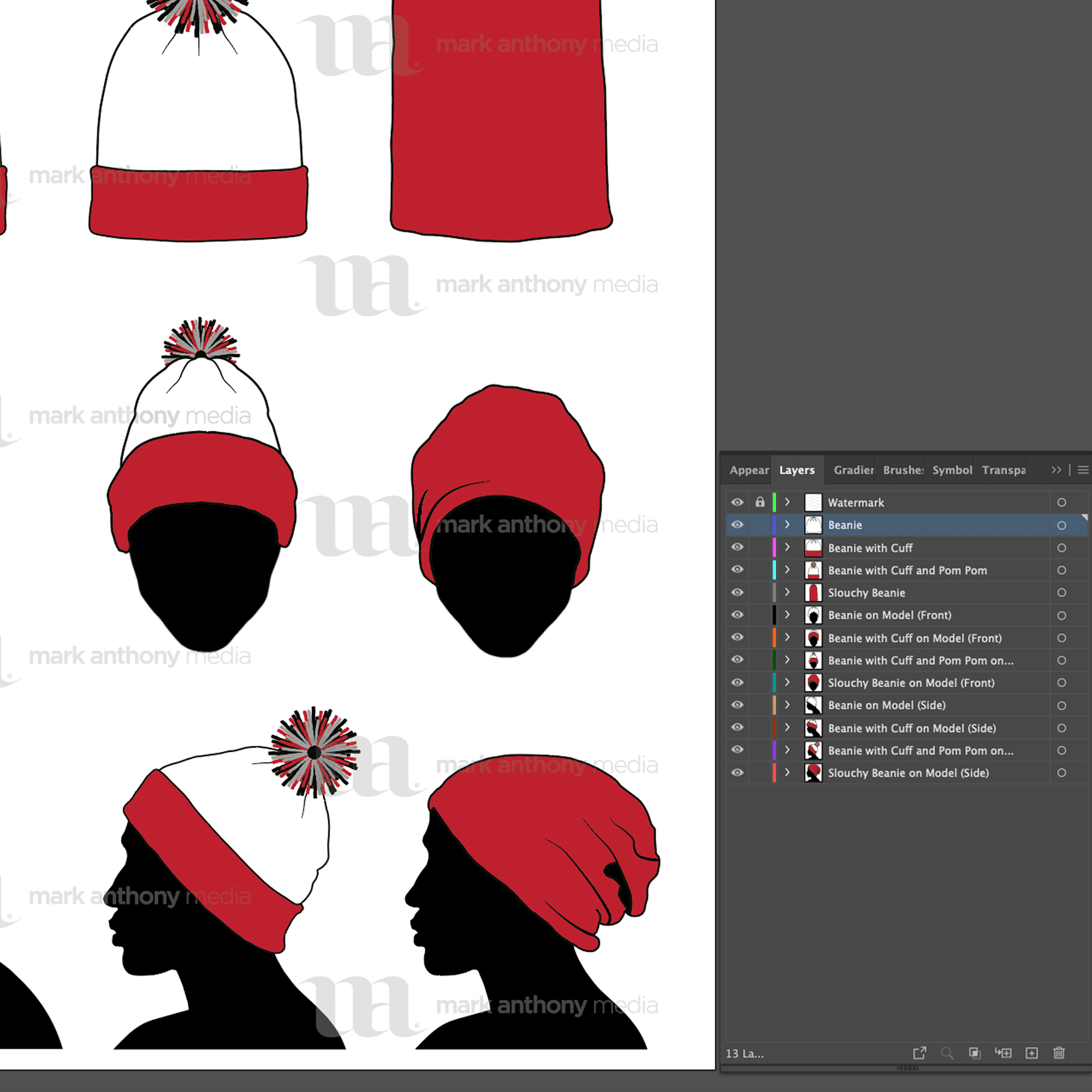Beanie, Toque, Knit and Winter Hat Template Sample Mock Up Layers