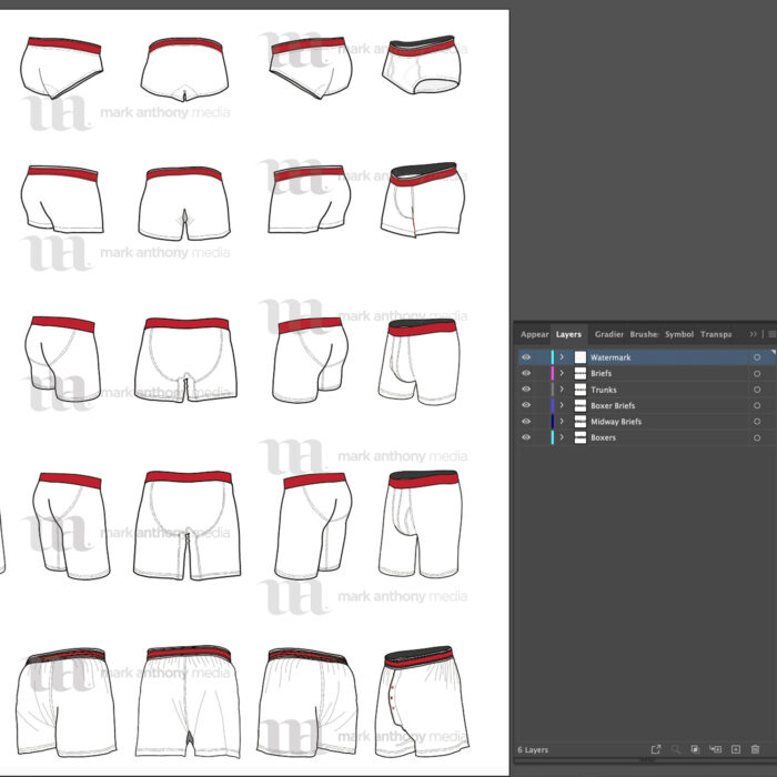 Boxers/Briefs Bundle Mockup Template Sample Mock Up Boxers, Boxer Briefs, Midway Briefs, Briefs, Trunks,