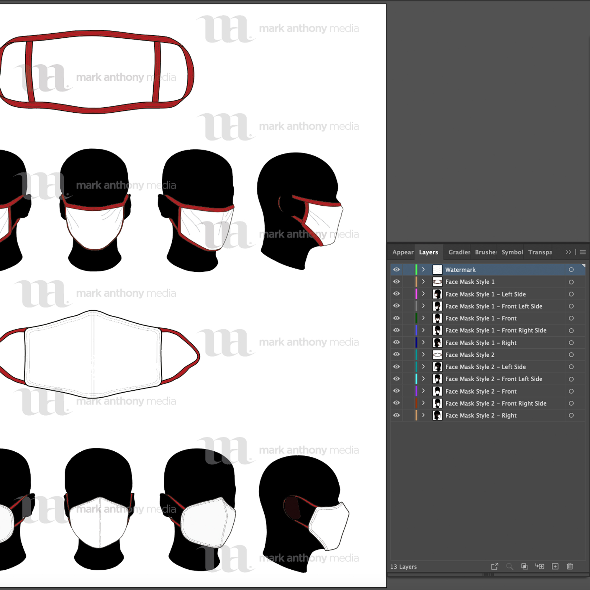Face Mask Layers Sample Template Mock Up