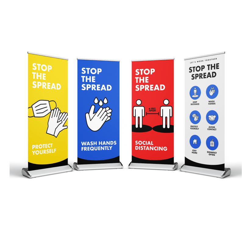 COVID-19 Social Distancing Pull Up Banners