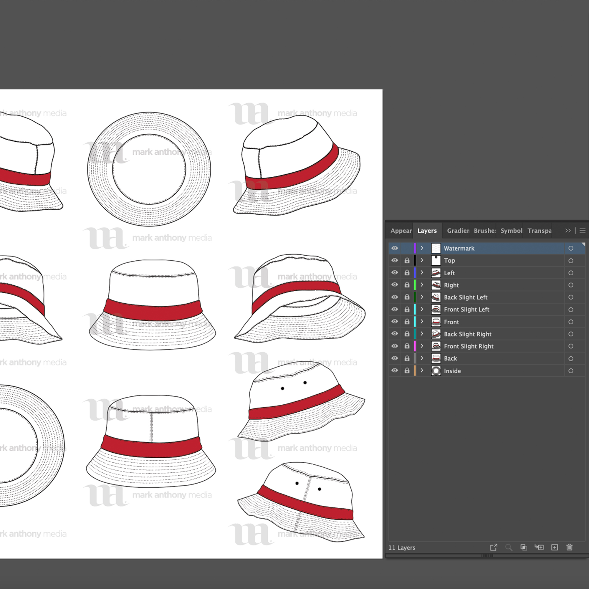 Bucket Hat Template Sample Mock Up Layers