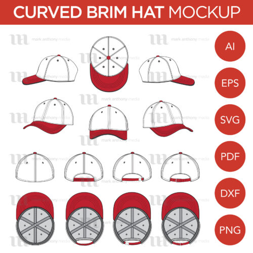 Curved Brim Baseball Cap Template Sample Mock Up Main Image