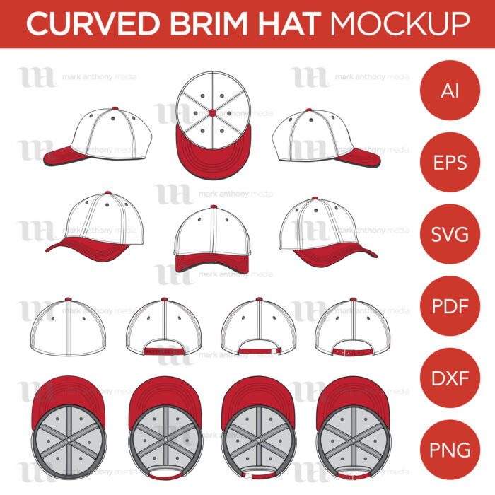 Curved Brim Baseball Cap Template Sample Mock Up Main Image