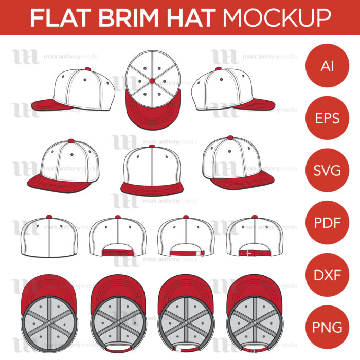 Flat Brim Baseball Cap Template Sample Mock Up Main Image