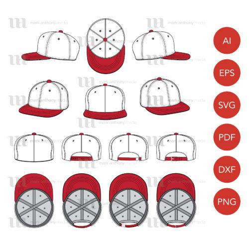 Flat Brim Baseball Cap Template Sample Mock Up