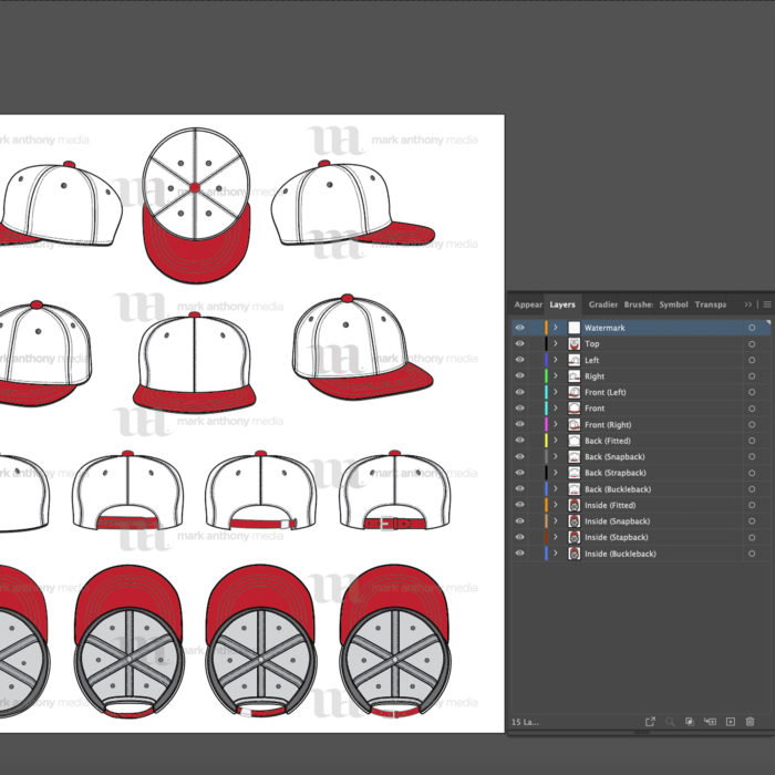 Flat Brim Baseball Cap Template Sample Mock Up Layers