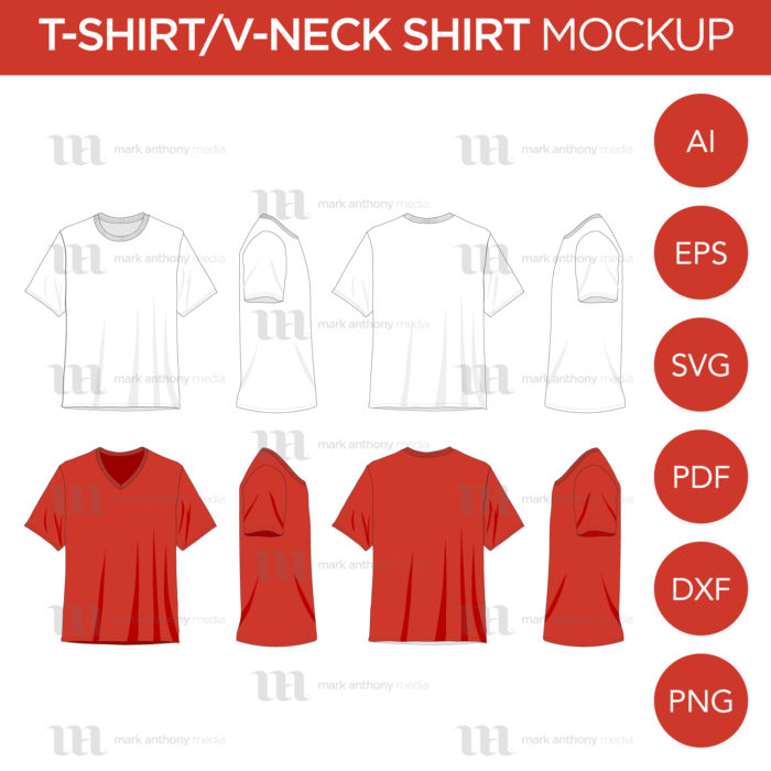 MAM T-Shirts V-Neck Shirts Mockup Template Main