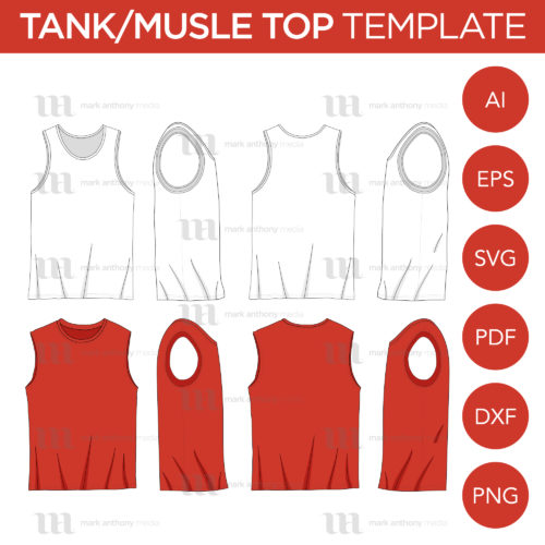 Tank Top and Muscle Shirt Top Template Mock Up Sample Main