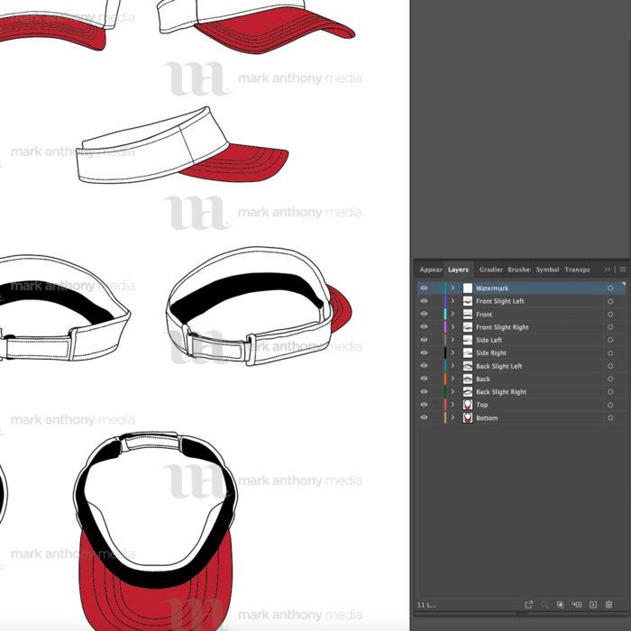 Visor Hat Template Sample Mock Up Layers
