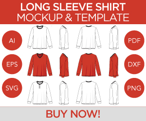 Long Sleeve T-Shirt V-Neck Henley Shirt Top Mockup and Template Ad