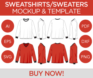 Sweatshirts & Sweaters Mockup Template Vector Ad