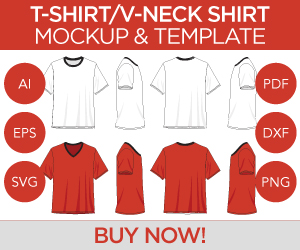 T-Shirt V-Neck Shirt Mockup and Template Ad