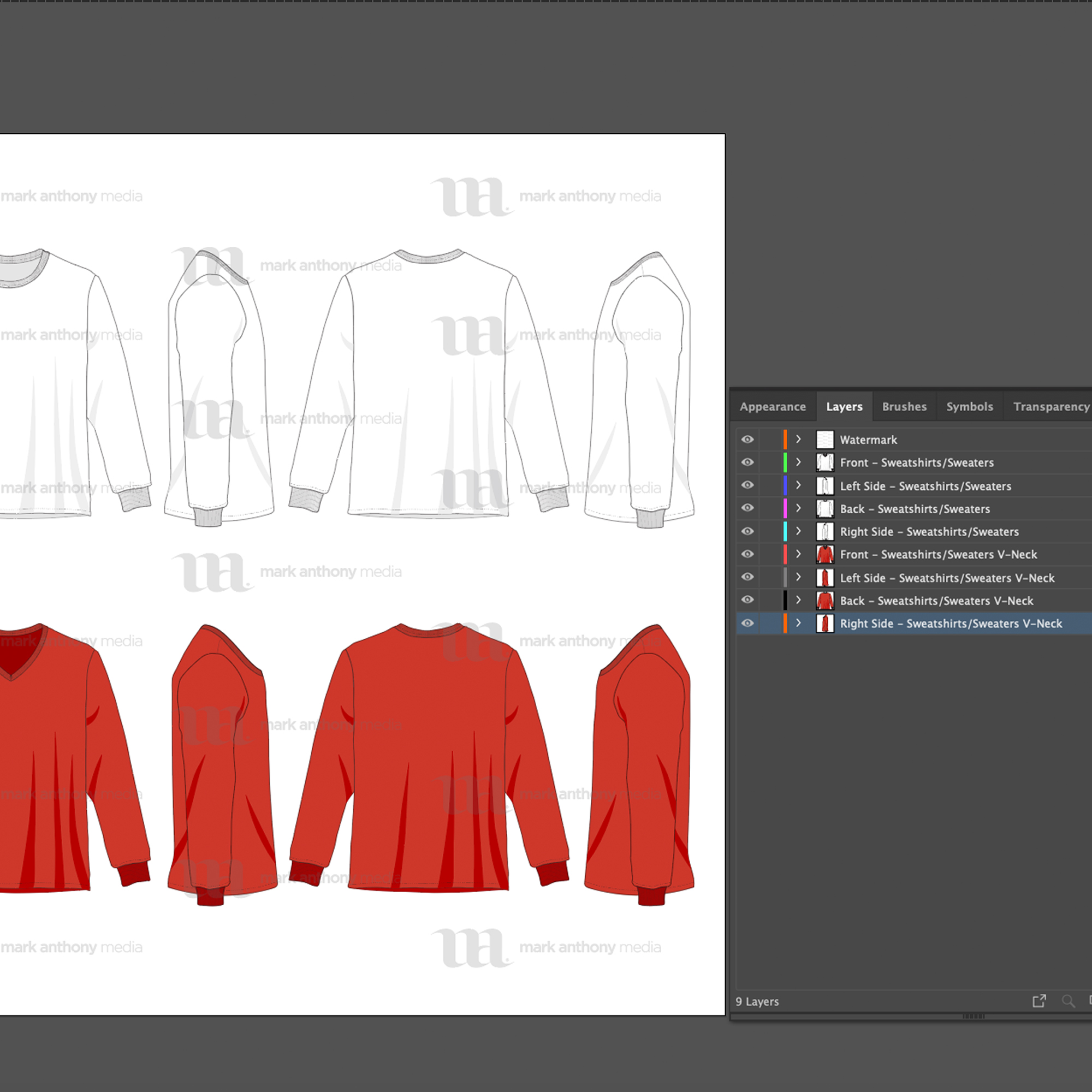 Sweatshirts & Sweaters Mockup Template Vector Sample Image