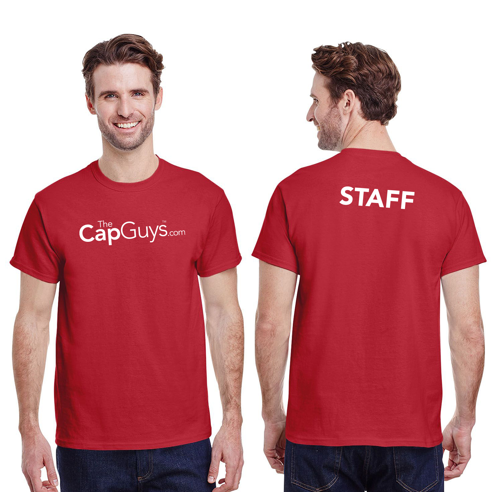 The Cap Guys Adult Staff T-Shirt Mockup & Template