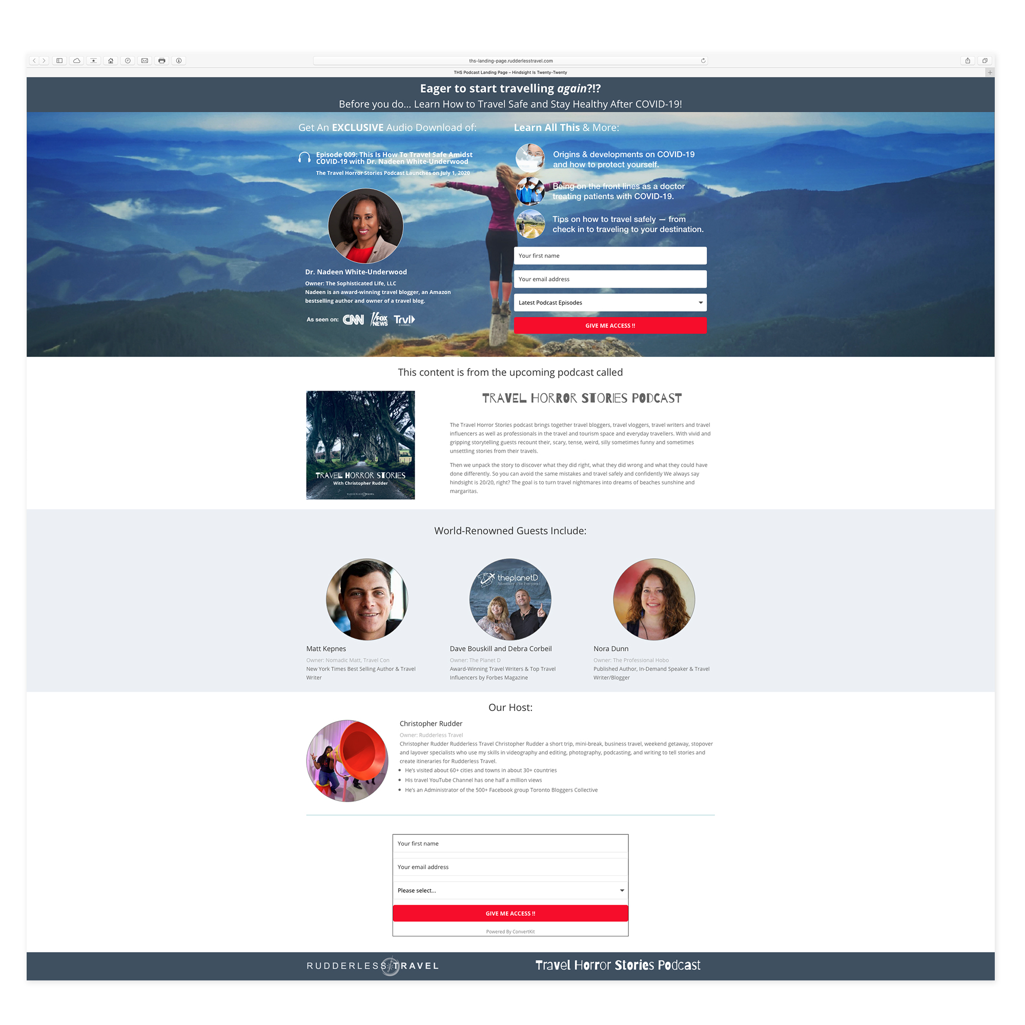 Rudderless Travel - Landing Pages