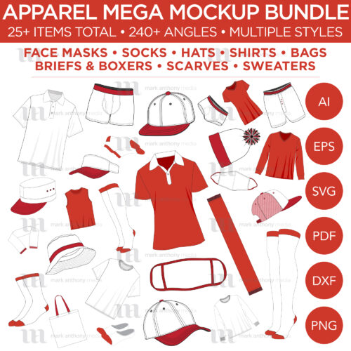 Apparel Mega Bundle Mockup Template Sample Mock Up