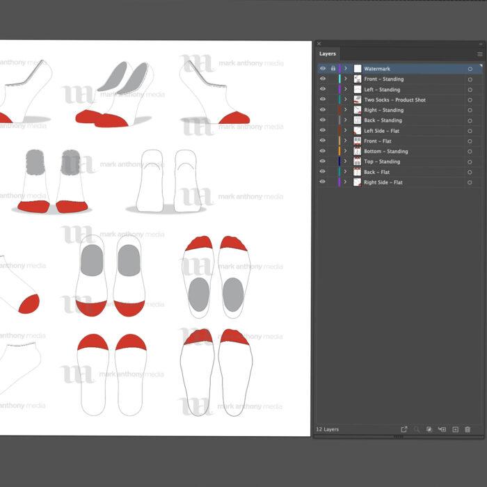 Liner No Show Ankle Socks Mockup Template Sample Mock Up Main Image