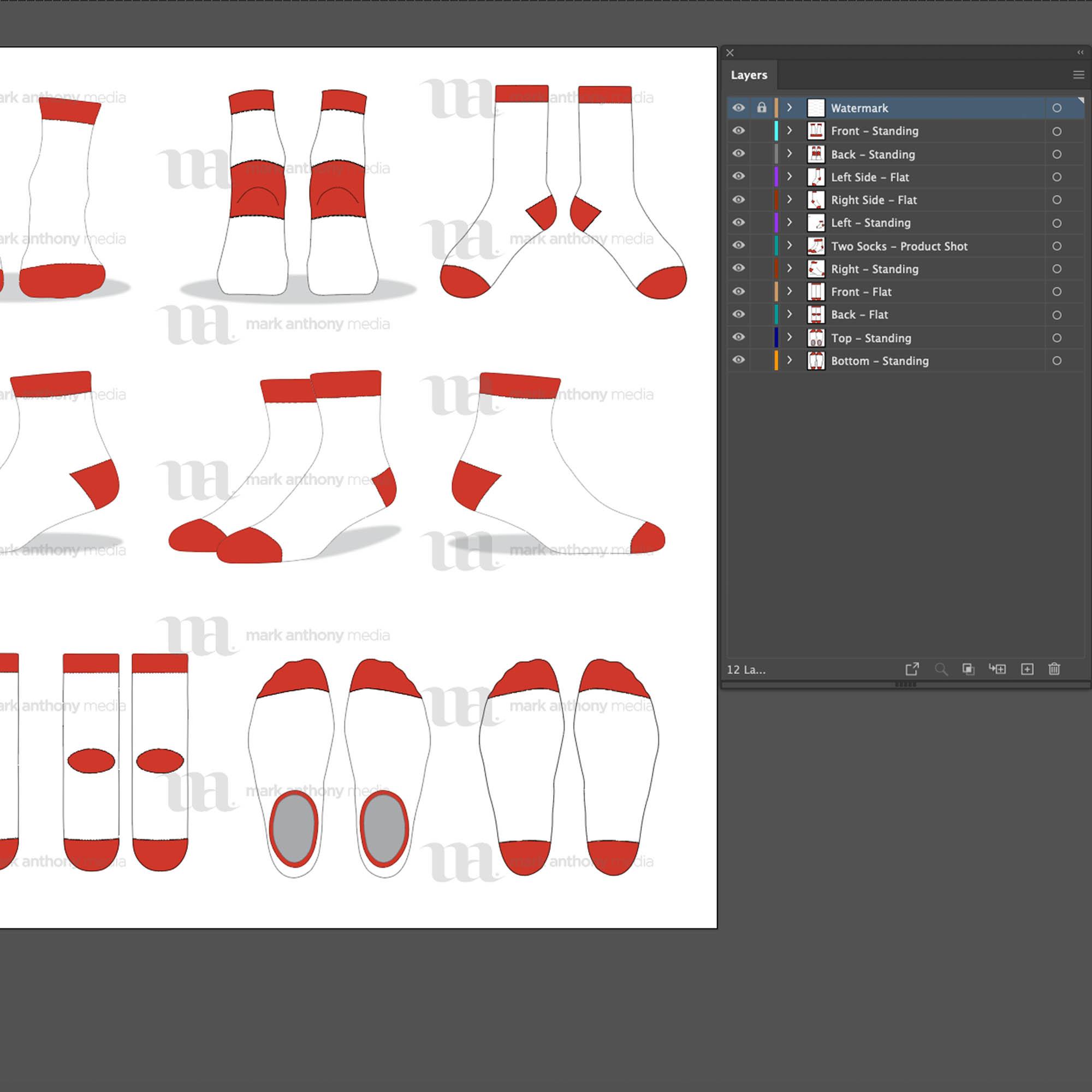 Quarter Ankle Socks Mockup Template Sample Mock Up Main Image