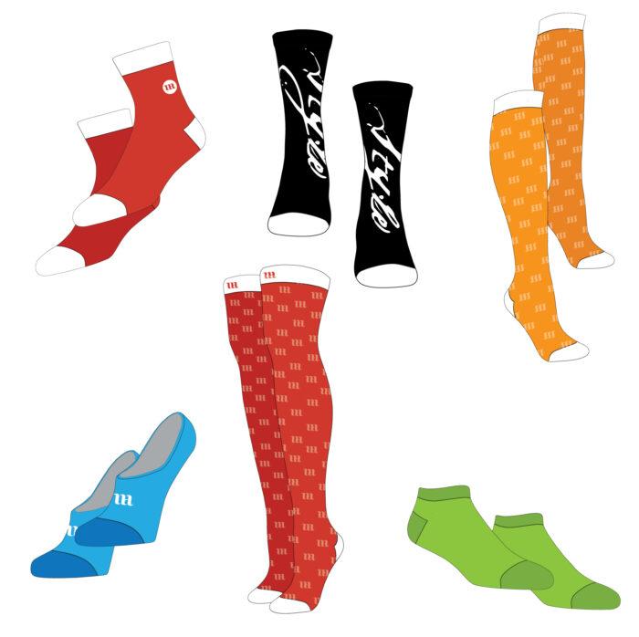 Socks Bundle Mockup Template Sample Mock Up Liner Socks, No Show Socks, Knee High Socks, Thigh High Socks, Quarter Socks, Low Cut Socks,