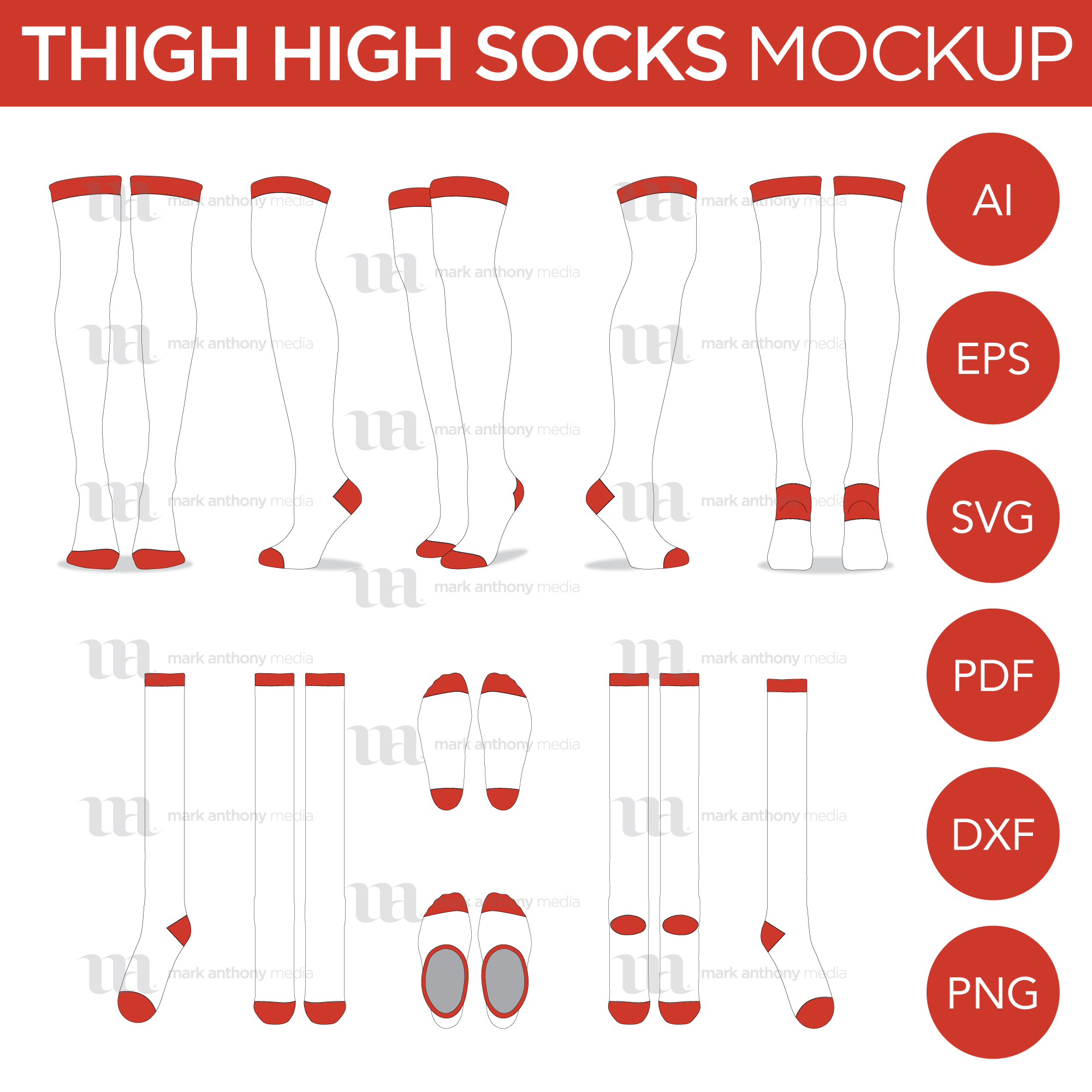 Thigh HIgh Socks Mockup Template Sample Mock Up Main Image