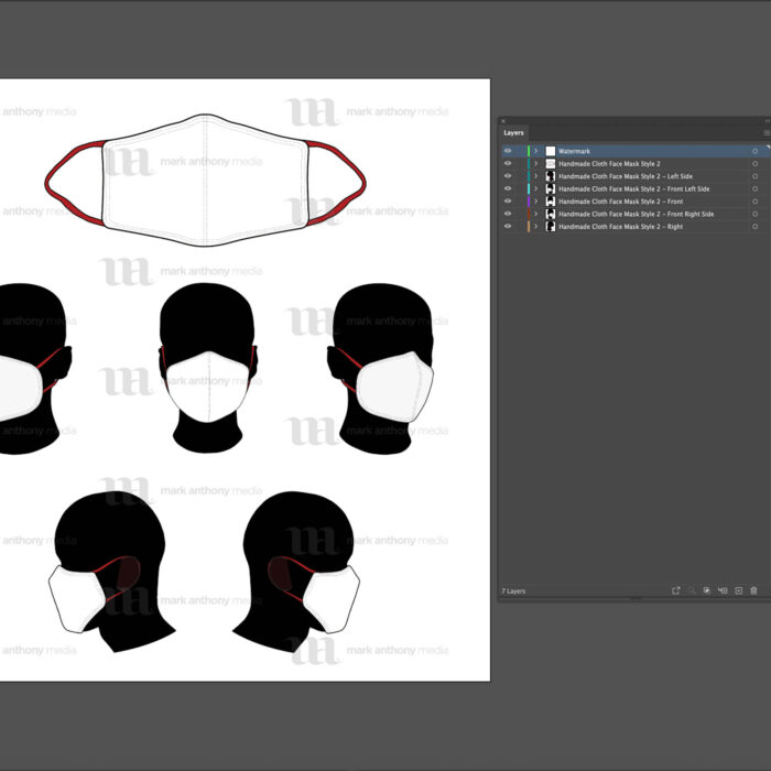 Handmade Masks - Mockup and Template - 6 Angles, 1 Style, Layered, Detailed and Editable Vector in EPS, SVG, AI, PNG, DXF and PDF