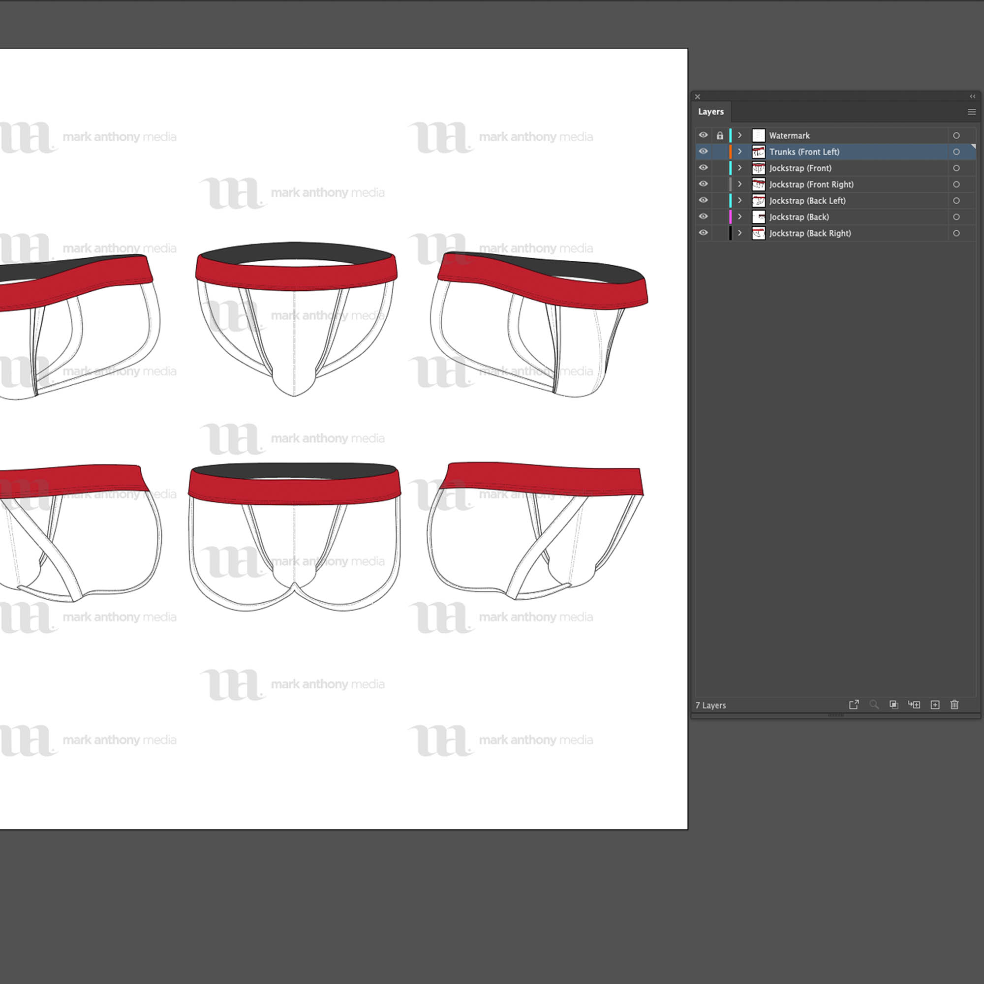 Jockstrap - Mockup and Template - 6 Angles, 1 Style, Layered, Detailed and Editable Vector in EPS, SVG, AI, PNG, DXF and PDF