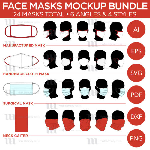 Face Masks & Neck Gaiter Bundle - Mockup and Template - Handmade Masks, Manufactured Masks, Sugical Masks, Neck Gaiter - 6 Angles, 4 Styles, Layered, Detailed and Editable Vector in EPS, SVG, AI, PNG, DXF and PDF