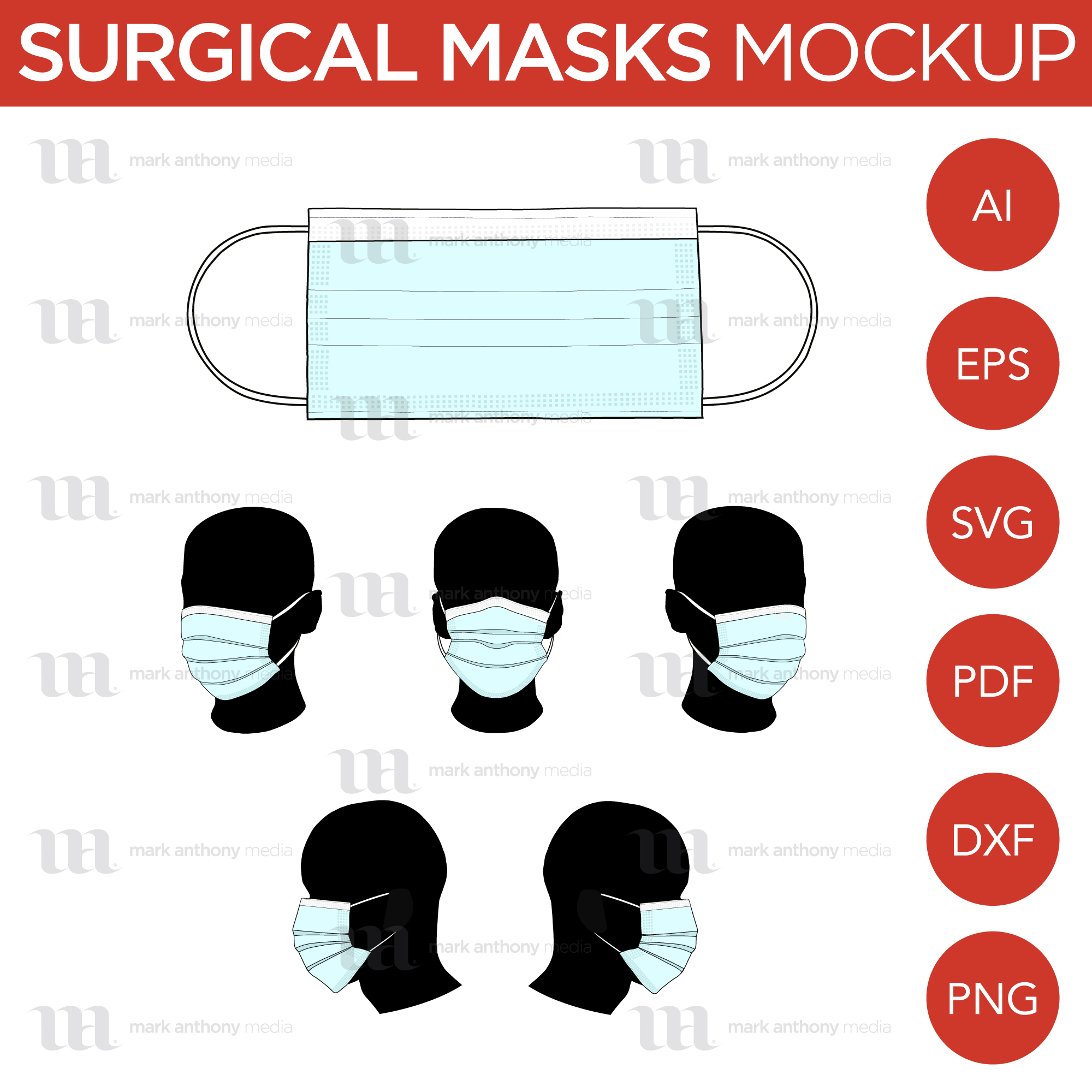 Surgical Masks - Mockup and Template - 6 Angles, 1 Style, Layered, Detailed and Editable Vector in EPS, SVG, AI, PNG, DXF and PDF