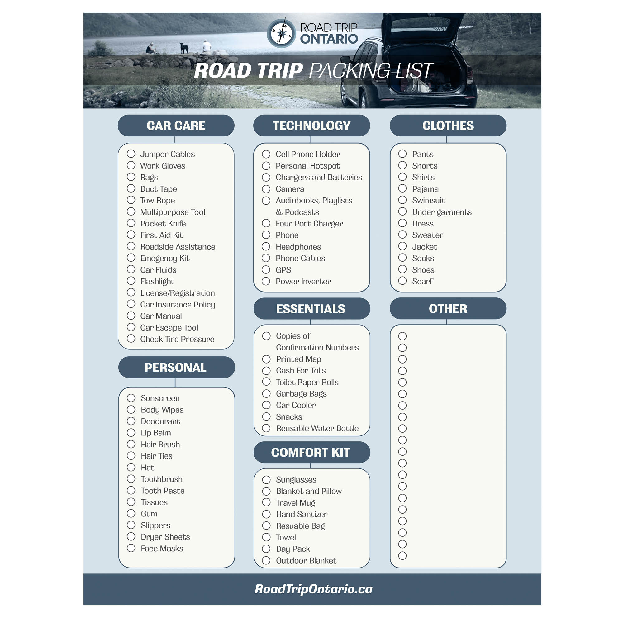 Road Trip Ontario - Road Trip Packing List - Lead Magnets