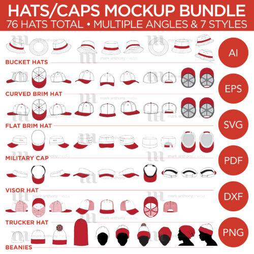 Hats/Caps Bundle - Bucket Hats, Curved Brim Hats, Flat Brim Hats, Military Caps, Visor Hats, Trucker Cap, Beanies - Mockup and Template - 76 Hats Total, Multiple Angles, 7 Styles, Layered, Detailed and Editable Vector in EPS, SVG, AI, PNG, DXF and PDF