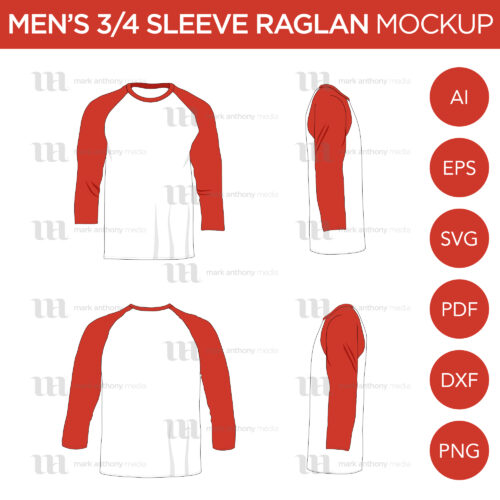 Raglan Men's 3/4 Sleeve Shirt - Vector Mockup Template