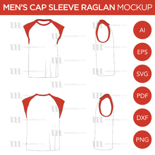 Raglan Men's Cap Sleeve/Sleeveless Shirt - Vector Mockup Template