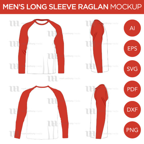 Raglan Men's Long Sleeve Shirt - Vector Mockup Template