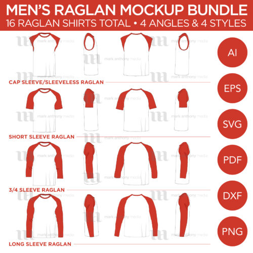 Men's Raglan Shirt Mockup Bundle