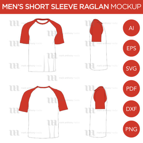 Raglan Men's Short Sleeve Shirt - Vector Mockup Template
