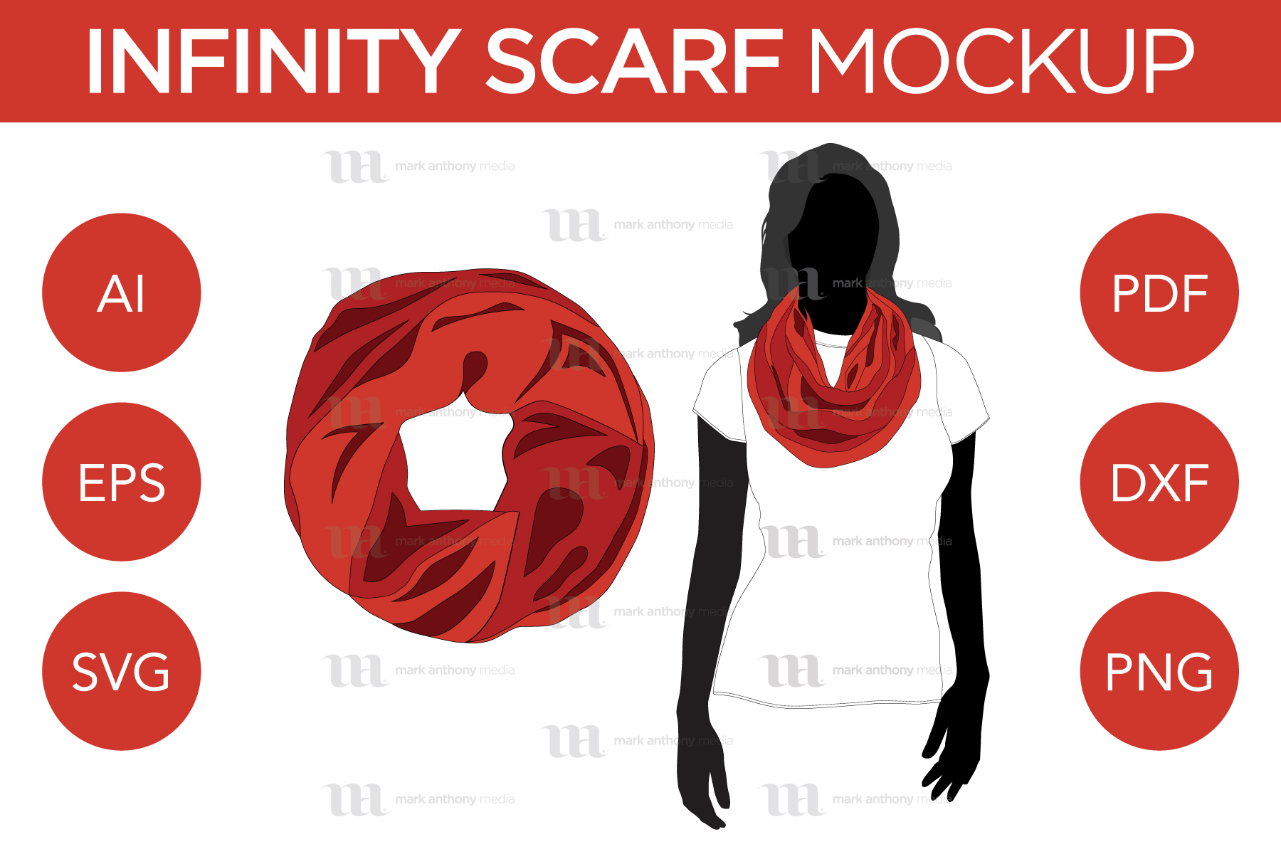 Scarves Bundle - Regular Scarf & Infinity Scarf - Mockup and Template - 5 Scarves Total, 2 Styles, Multiple Angles, Layered, Detailed and Editable Vector in EPS, SVG, AI, PNG, DXF and PDF