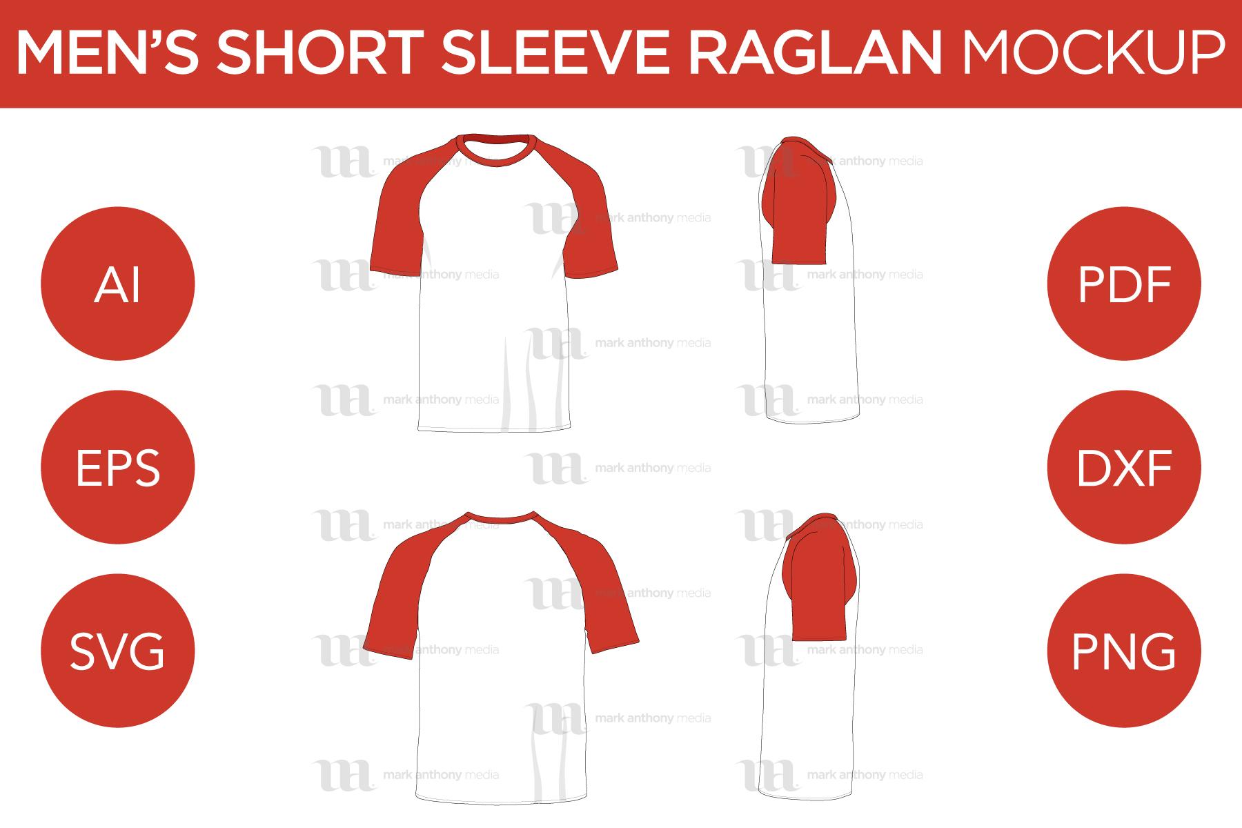 Men's Short Sleeve Raglan Mockup and Template