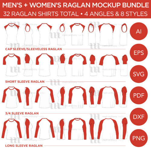 Men's + Women's Raglan Shirt Mockup Bundle