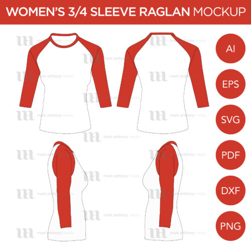 Men's Cap 3/4 Sleeve Raglan Mockup and Template