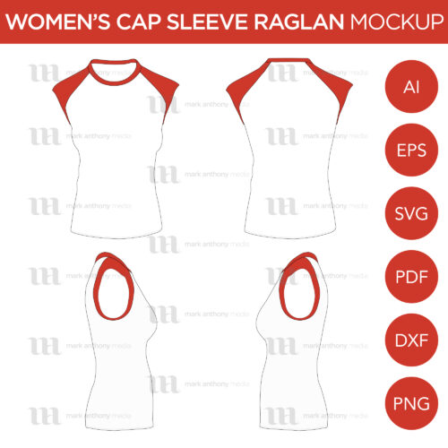 Men's Cap Sleeve/Sleeveless Raglan Mockup and Template