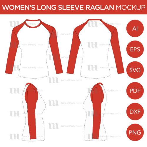 Raglan Women's Cap Long Sleeve Shirt - Vector Mockup Template