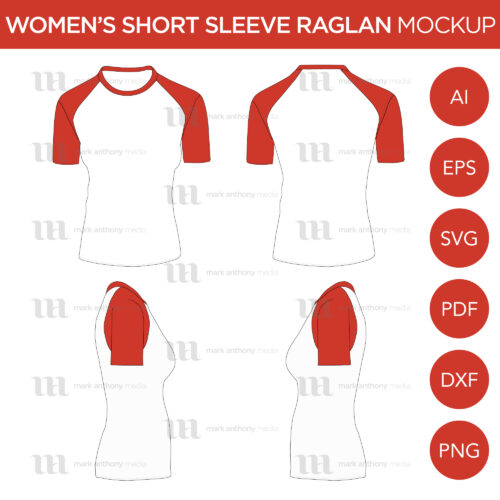 Men's Cap Short Sleeve Raglan Mockup and Template
