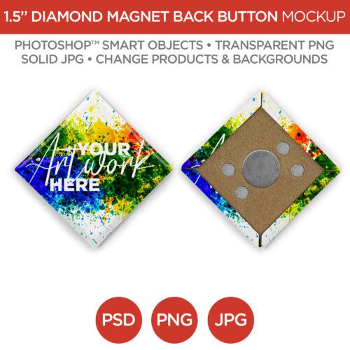 1.5 in Diamond Magnet Back Button V1