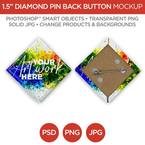 1.5 in Diamond Pin Back Button Main V1