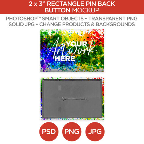 "2x3"" Rectangle Pin Back Button V1"